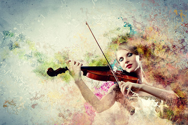 a woman playing a violin to the tune of positive psychology