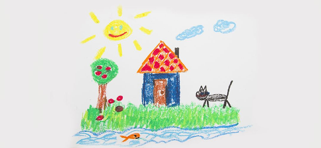 child's drawing of house, sun, cat, tree, clouds, fish